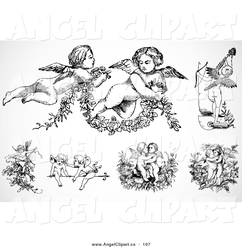 Digital Set Of Black And White Baby Angels Or Cupids By Bestvector