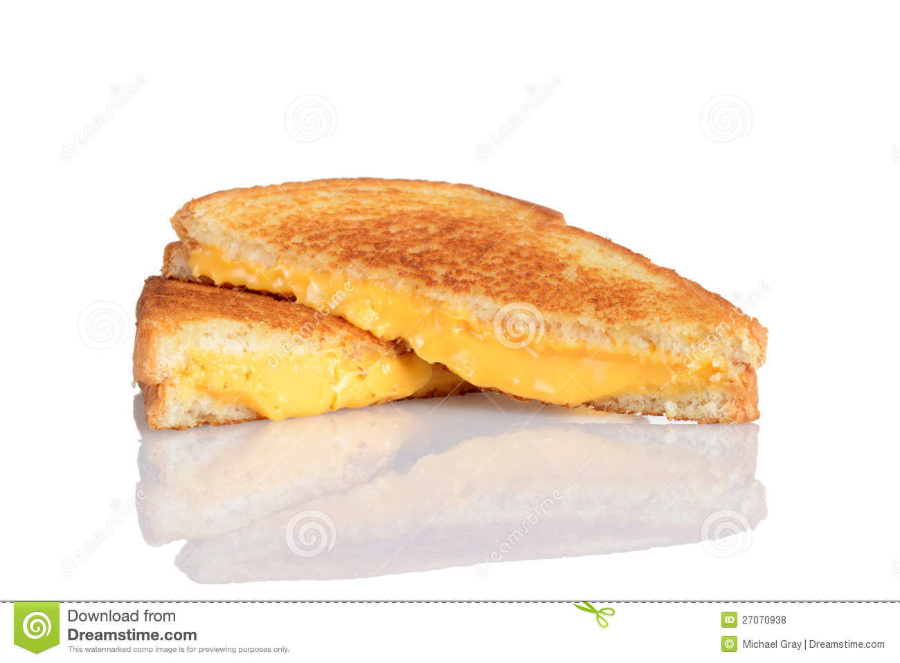 Grilled Cheese Sandwich With Reflection Royalty Free Stock Photos