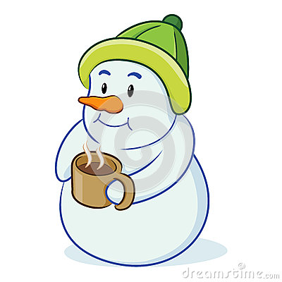 Of Cartoon Snowman With Cup Of Hot Chocolate White Background