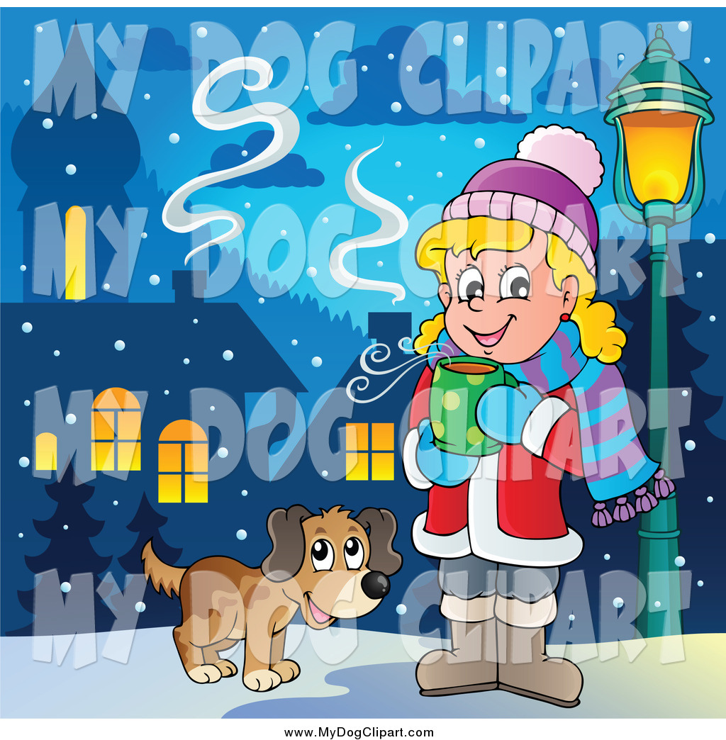 Preview  Clip Art Of A Dog With A Girl Drinking Hot Cocoa By Visekart