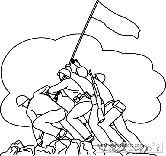 Soldiers Raising Flag Veterans Day Outline   Classroom Clipart