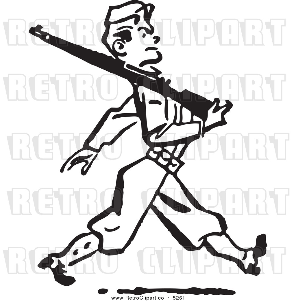 Vector Clipart Of A Black And White Retro Military Soldier Marching