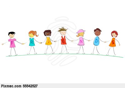 Vector Image Of Illustration Of Friends Standing While Holding Hand Of
