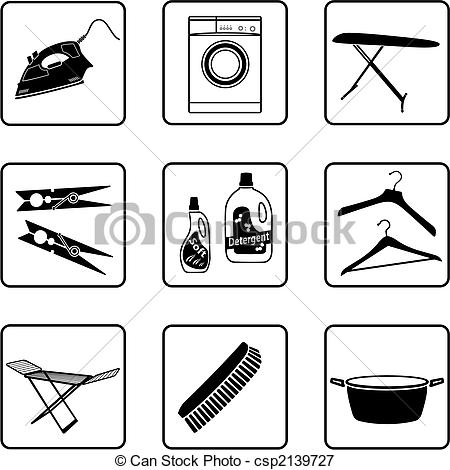 Vectors Illustration Of Laundry Objects Black And White Silhouettes