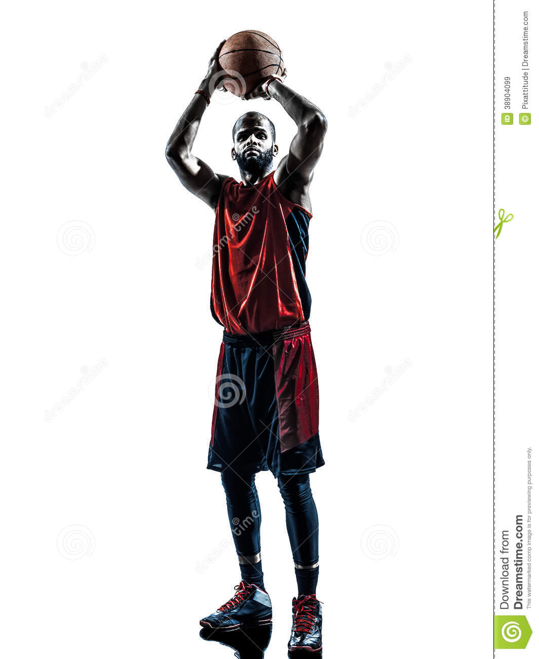 African Man Basketball Player Free Throw In Silhouette Isolated White