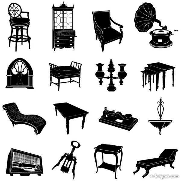 Antique Black And White  Furniture  Silhouette  Chair  Phonograph  Bed