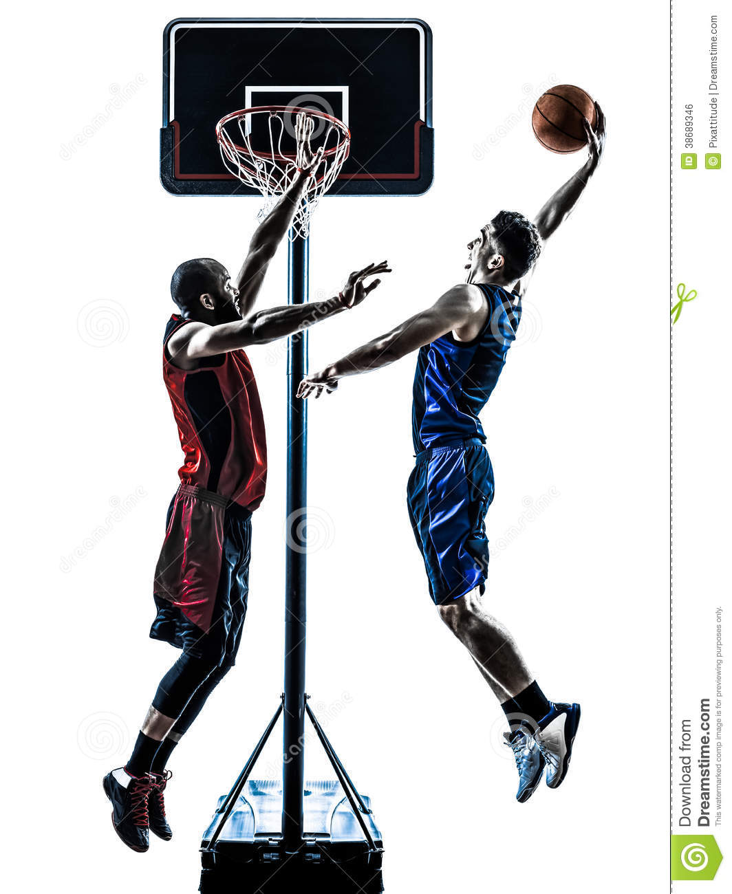 Basketball Players Man Jumping Dunking Silhouette Royalty Free Stock