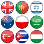 Circle National Flag Icon Set Vector Illustration Red Flag Icon