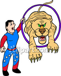 Circus Tiger Jumping Through A Hoop   Royalty Free Clipart Picture