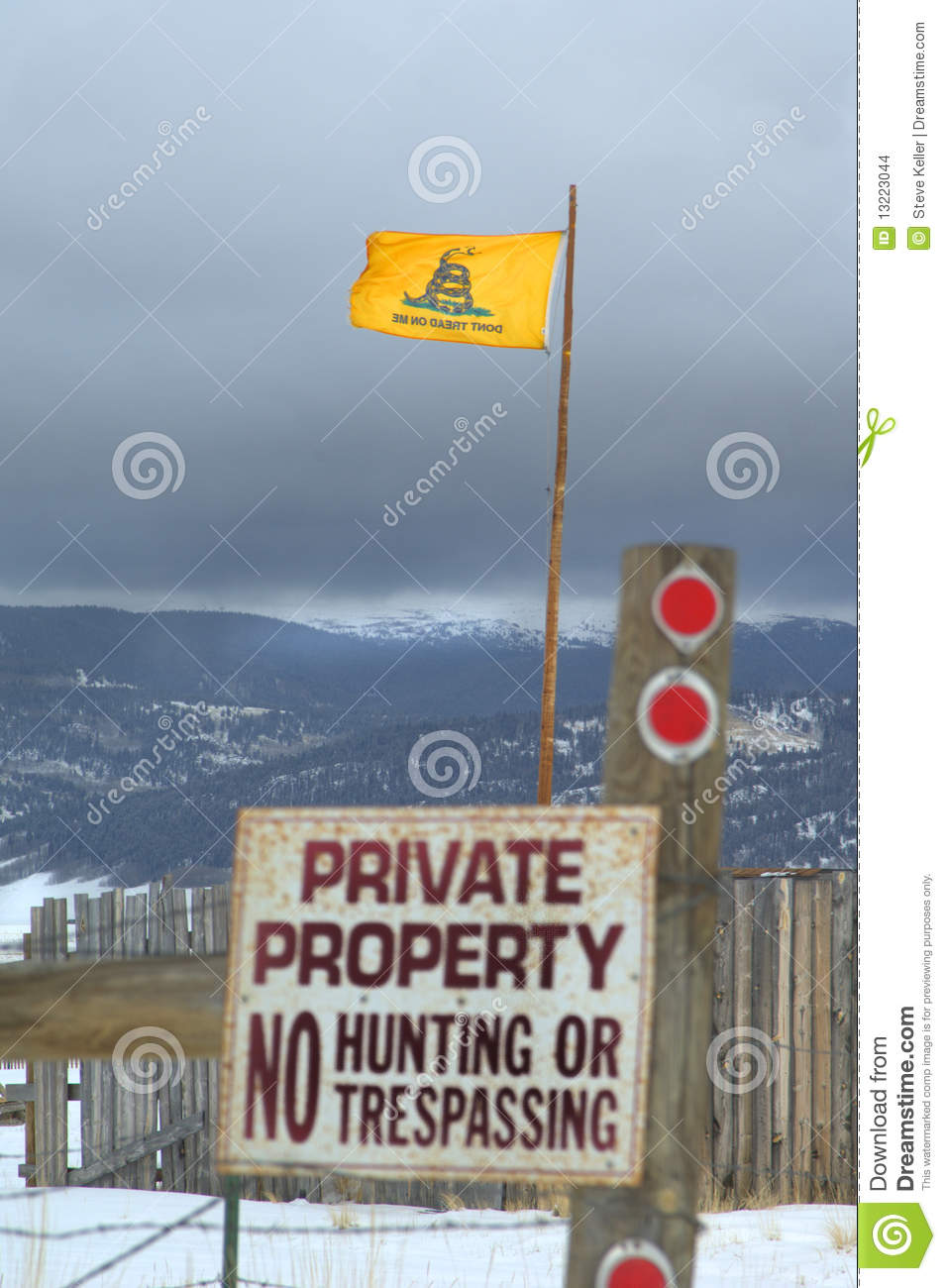 Colorado High Country With Don T Tread On Me Flag And No Tresspassing
