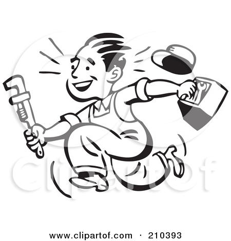 Free  Rf  Clipart Illustration Of A Retro Black And White Plumber