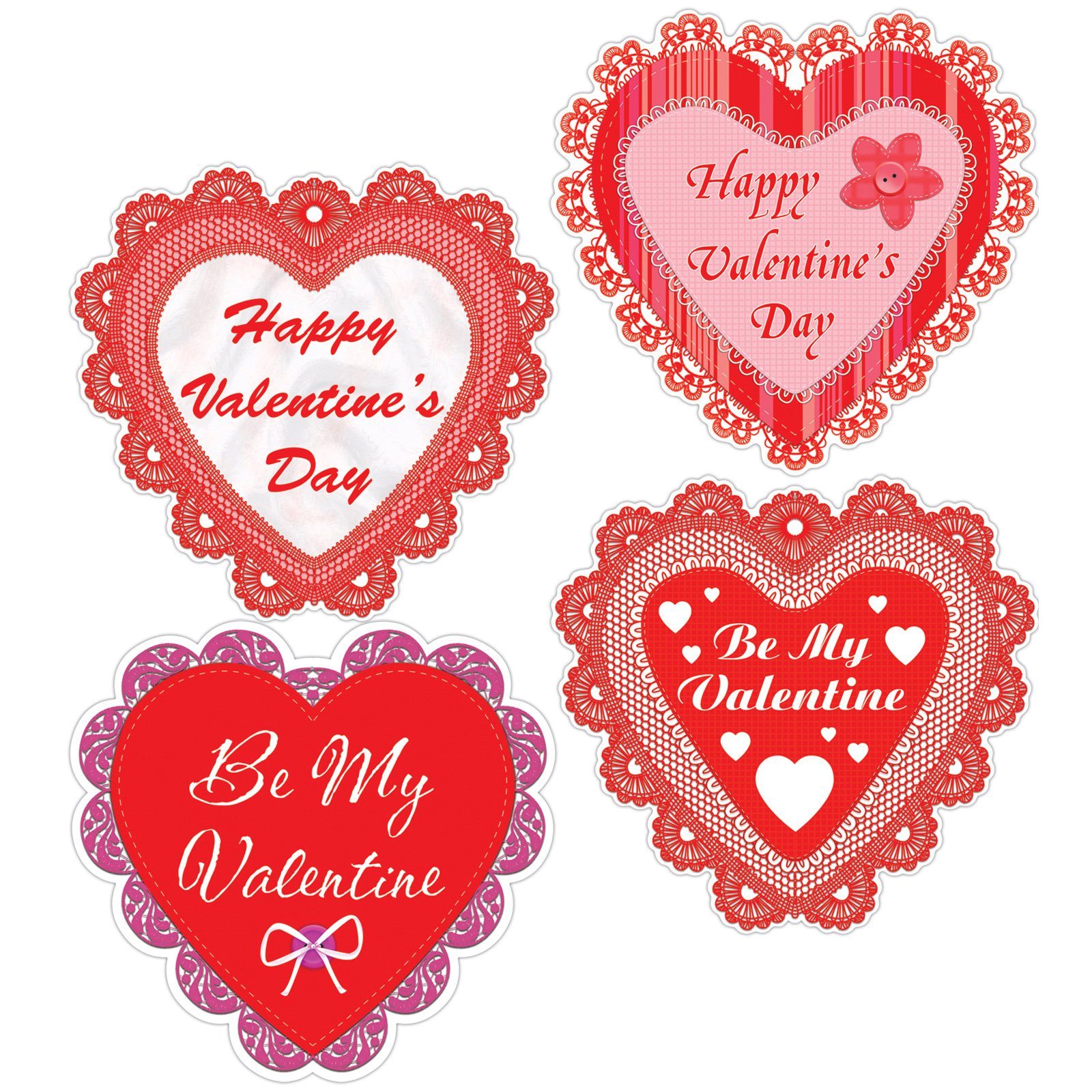 Happy Valentine S Day Lace Hearts Cutouts   4 Count