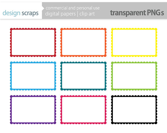 Labels Clip Art Scalloped Rectangle Frames Digital Clipart Commercial