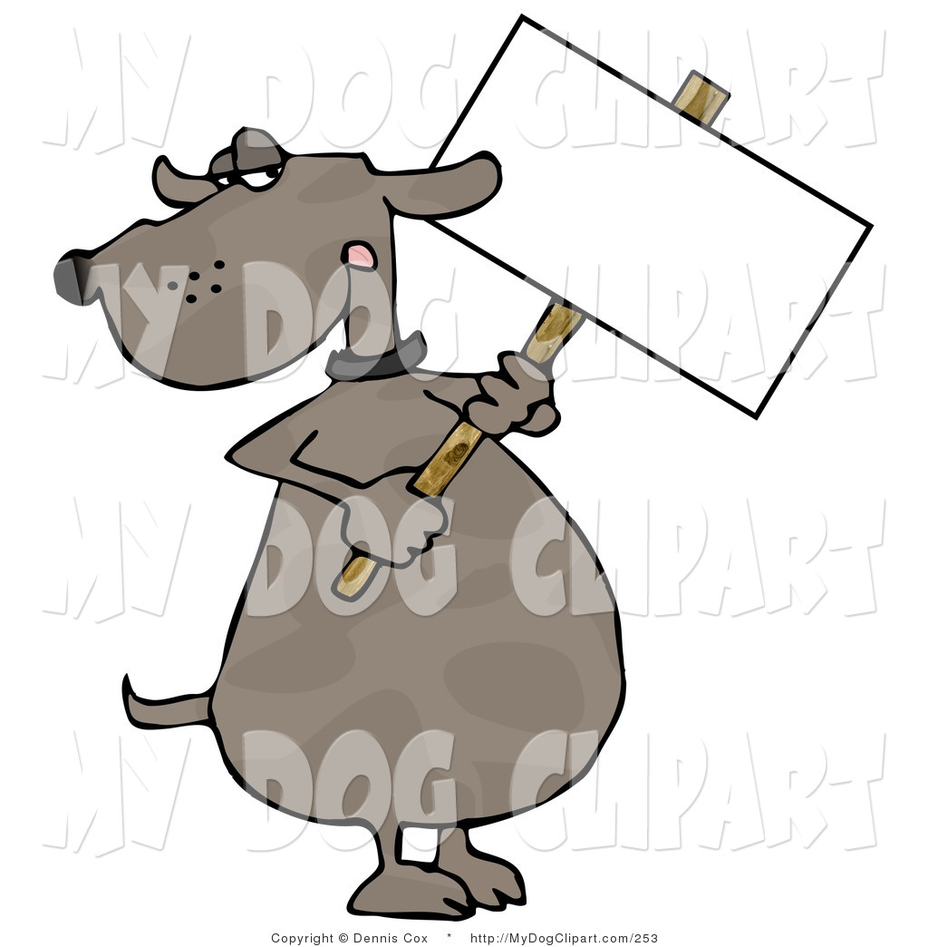 Larger Preview  Clip Art Of A Human Like Brown Dog Holding A Blank