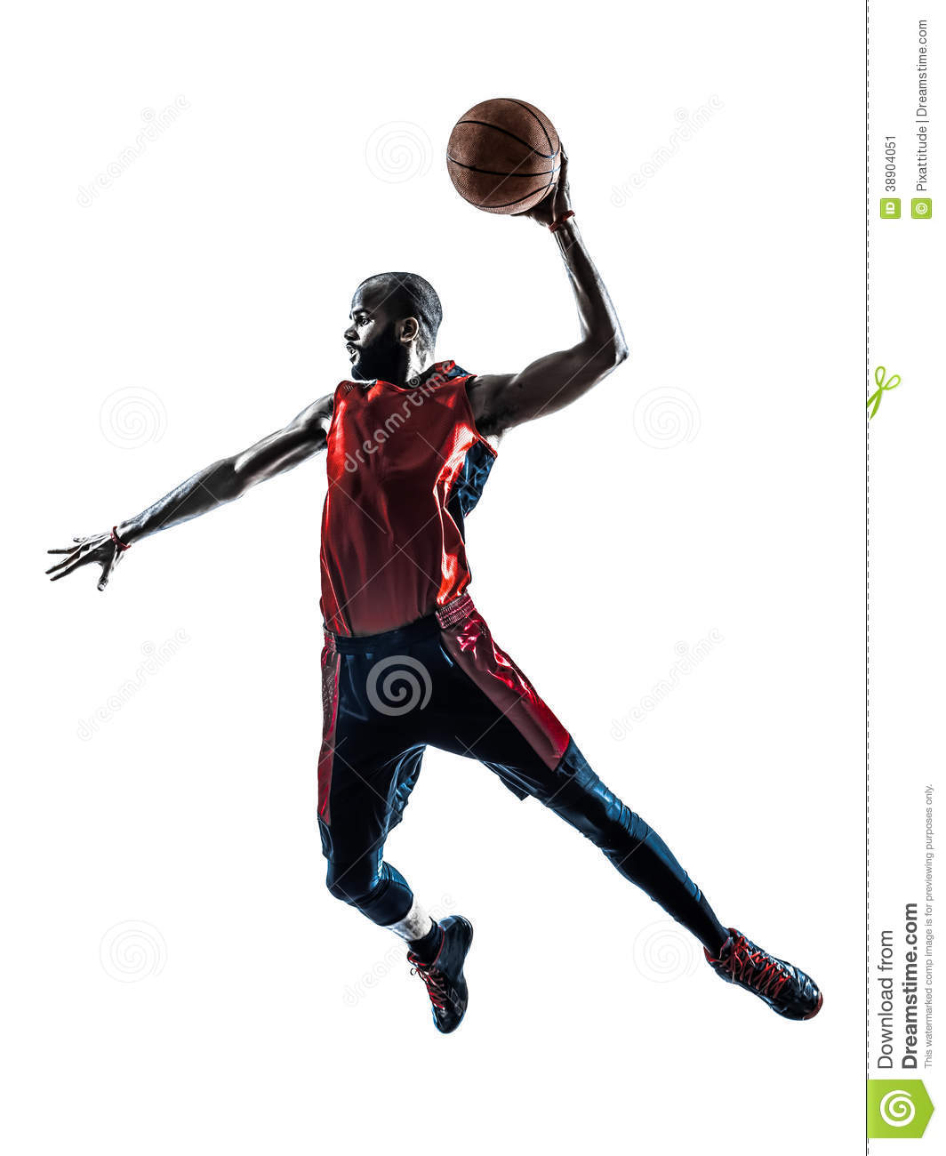 Man Basketball Player Jumping Dunking Silhouette Stock Photo   Image