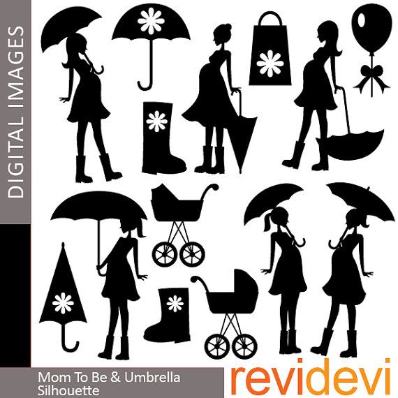 Mom To Be And Umbrella Silhouette 07347   Digital Clip Art   Commerci