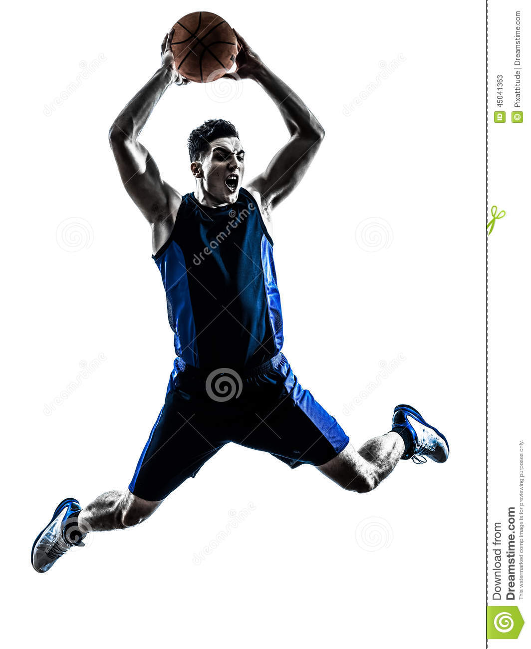 One Man Basketball Player Jumping Dunking In Silhouette Isolated White