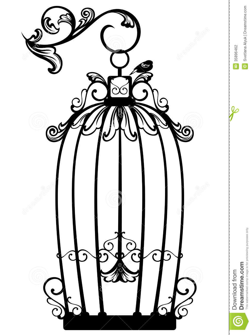 Open Birdcage With A Free Bird   Black And White Decorative Outline