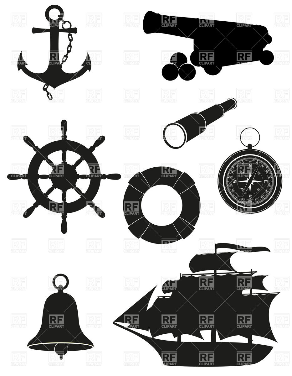 Set Of Antique Nautical Elements Icons Black Silhouette 19886