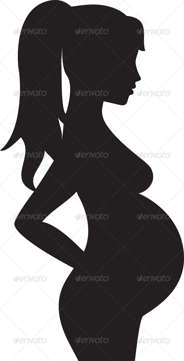 Silhouette Of A Pregnant Woman   People Characters