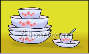 Stack Of China Dishes   Royalty Free Clipart Picture