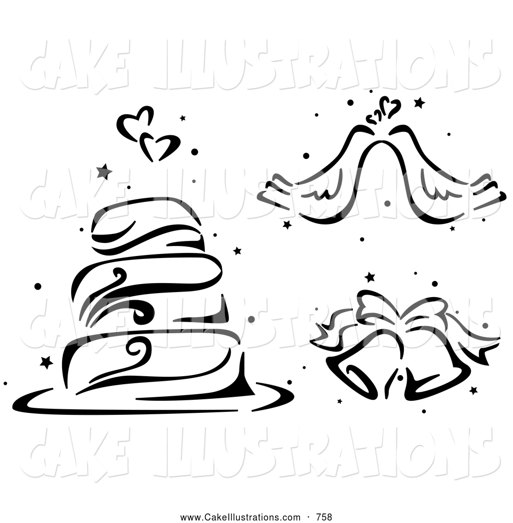 Stenciled Layered Wedding Cake Doves And Bells Romantic Chocolate Cake
