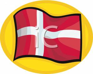 The Flag Of Denmark In Front Of A Yellow Circle   Royalty Free Clipart