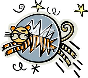 Tiger Jumping Through A Hoop   Royalty Free Clipart Picture