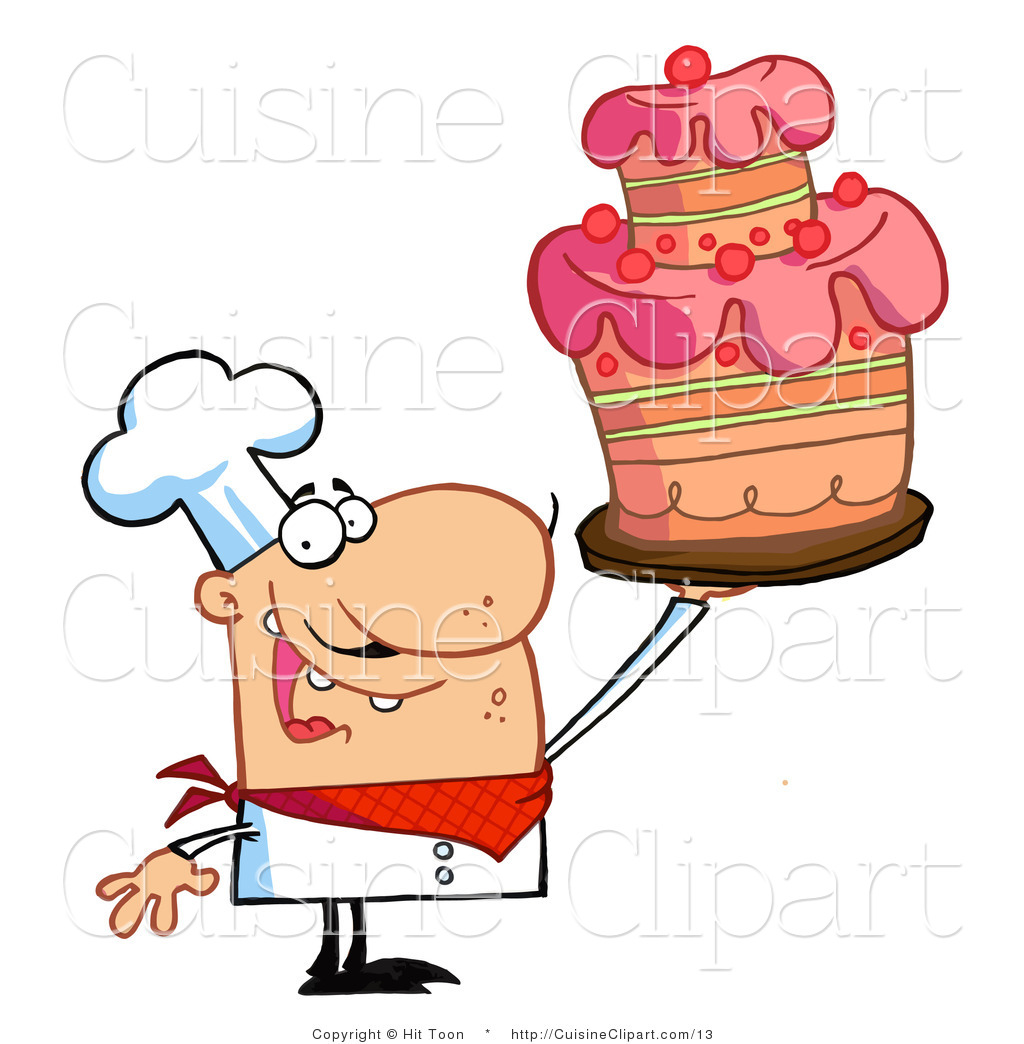 Vector Clipart Of A Chef Holding A Layered Cake By Hit Toon    13