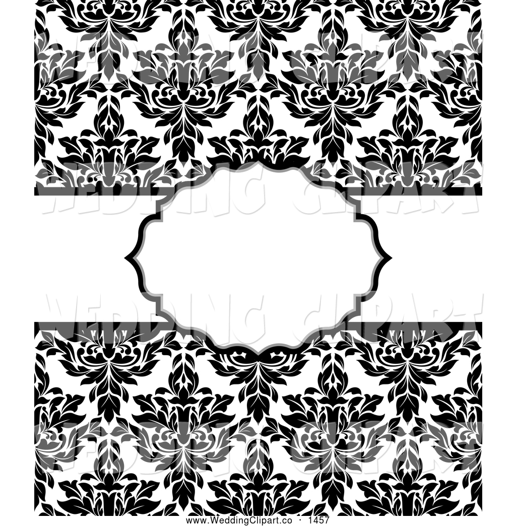 Vector Marriage Clipart Of A Elegant Black And White Damask Invitation