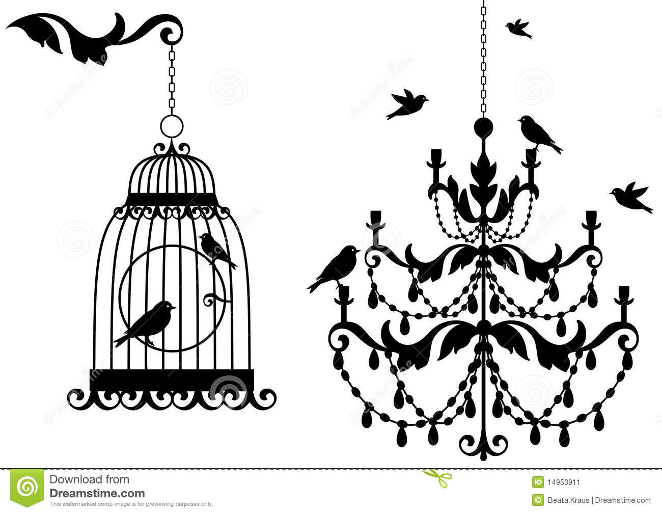 Vintage Birdcage And Crystal Chandalier With Birds Background