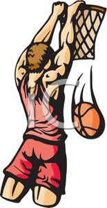 White Basketball Player Dunking A Basketball   Royalty Free Clipart