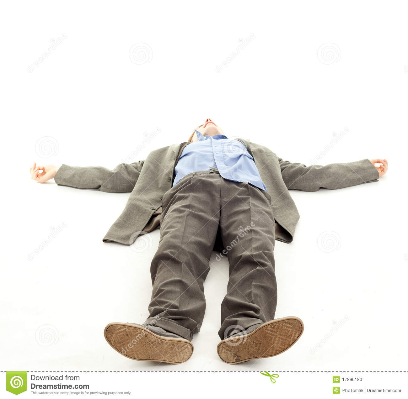 Young Man Lying On The Floor Businessman Feet Of A Dead Body