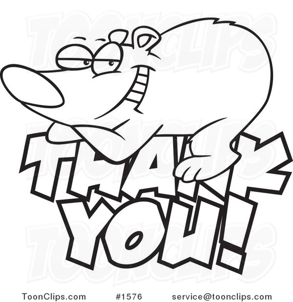 And White Outline Design Of A Grateful Bear Resting On Thank You Text