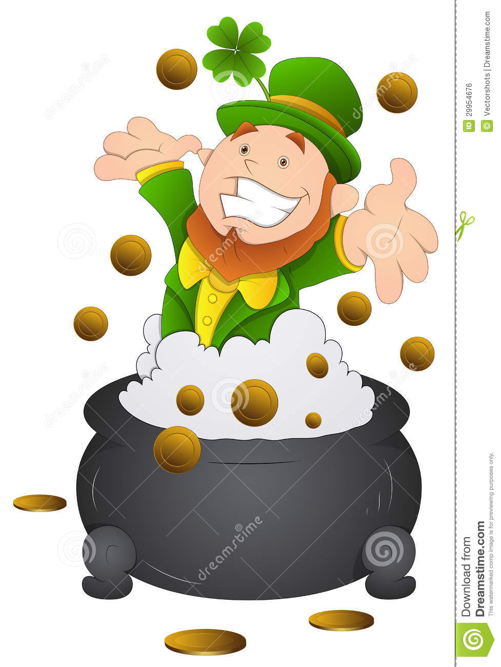 Beautiful Drawing Art Of Happy Cartoon St  Patrick S Day Leprechaun