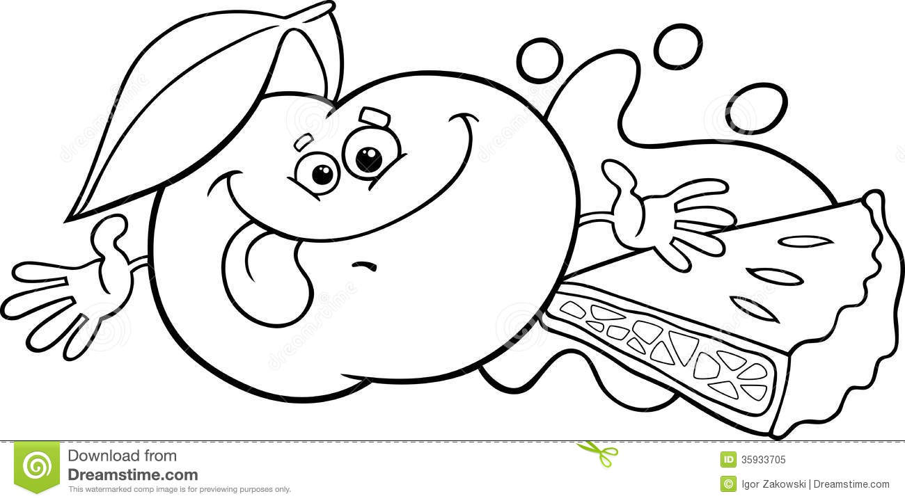 Black And White Cartoon Illustration Of Funny Green Apple Character