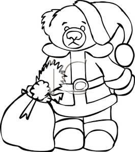 Santa Black And White Bag Clipart - Clipart Kid