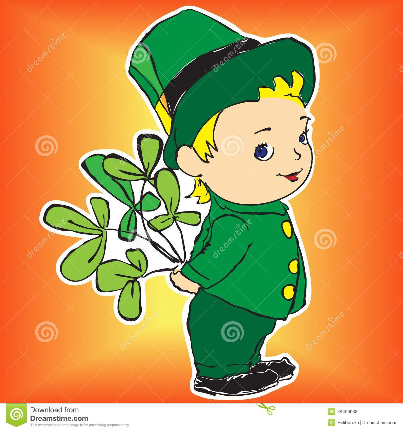 Boy In A Dress With Bouquet Of Irish Clover Royalty Free Stock Photos