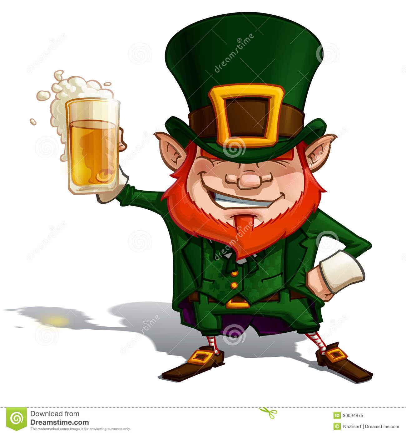 Cartoon Illustration Of St  Patrick Popular Image Cheering With A