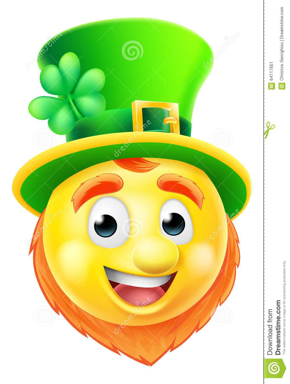 Cartoon St Patricks Day Leprechaun Emoji Emoticon Character
