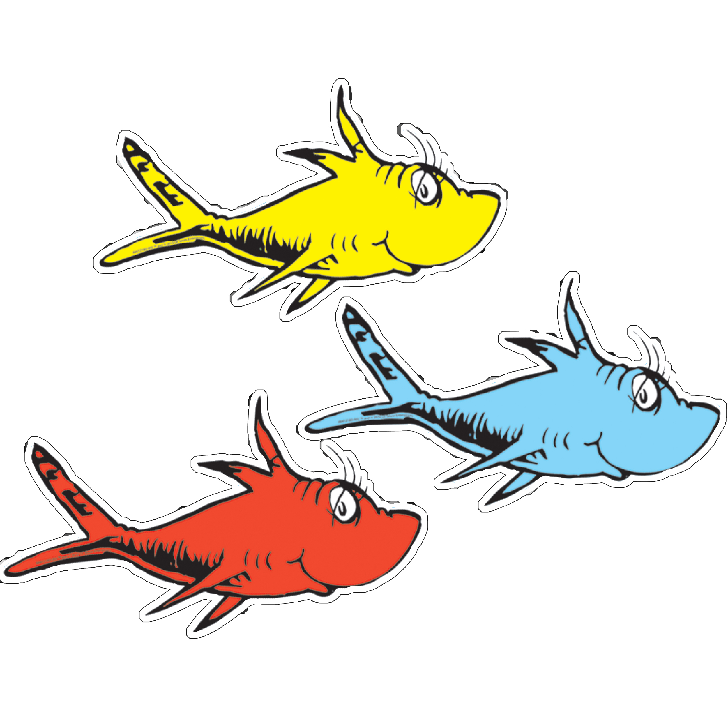 Dr  Seuss One Fish Two Fish Assorted Paper Kids Cut Outs   Eureka