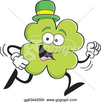 Eps Vector   Cartoon Illustration Of A Shamrock Running And Wearing A