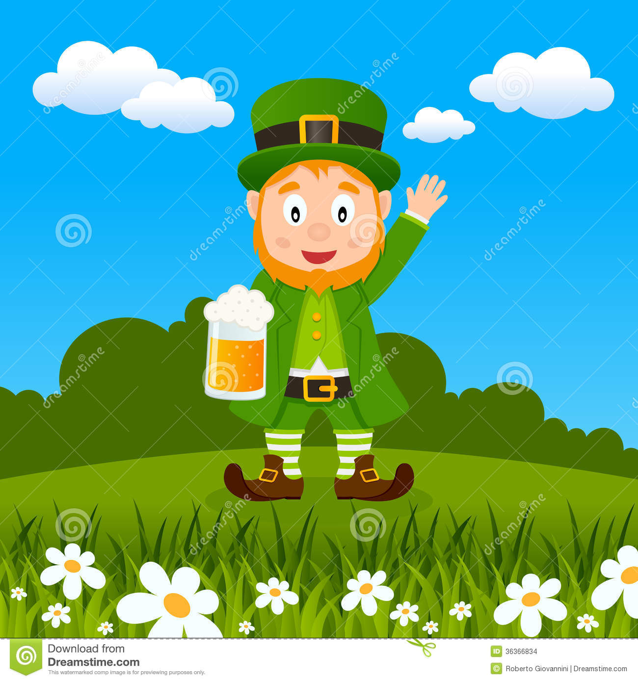 Happy Cartoon Leprechaun Character Holding A Beer Mug And Smiling In A