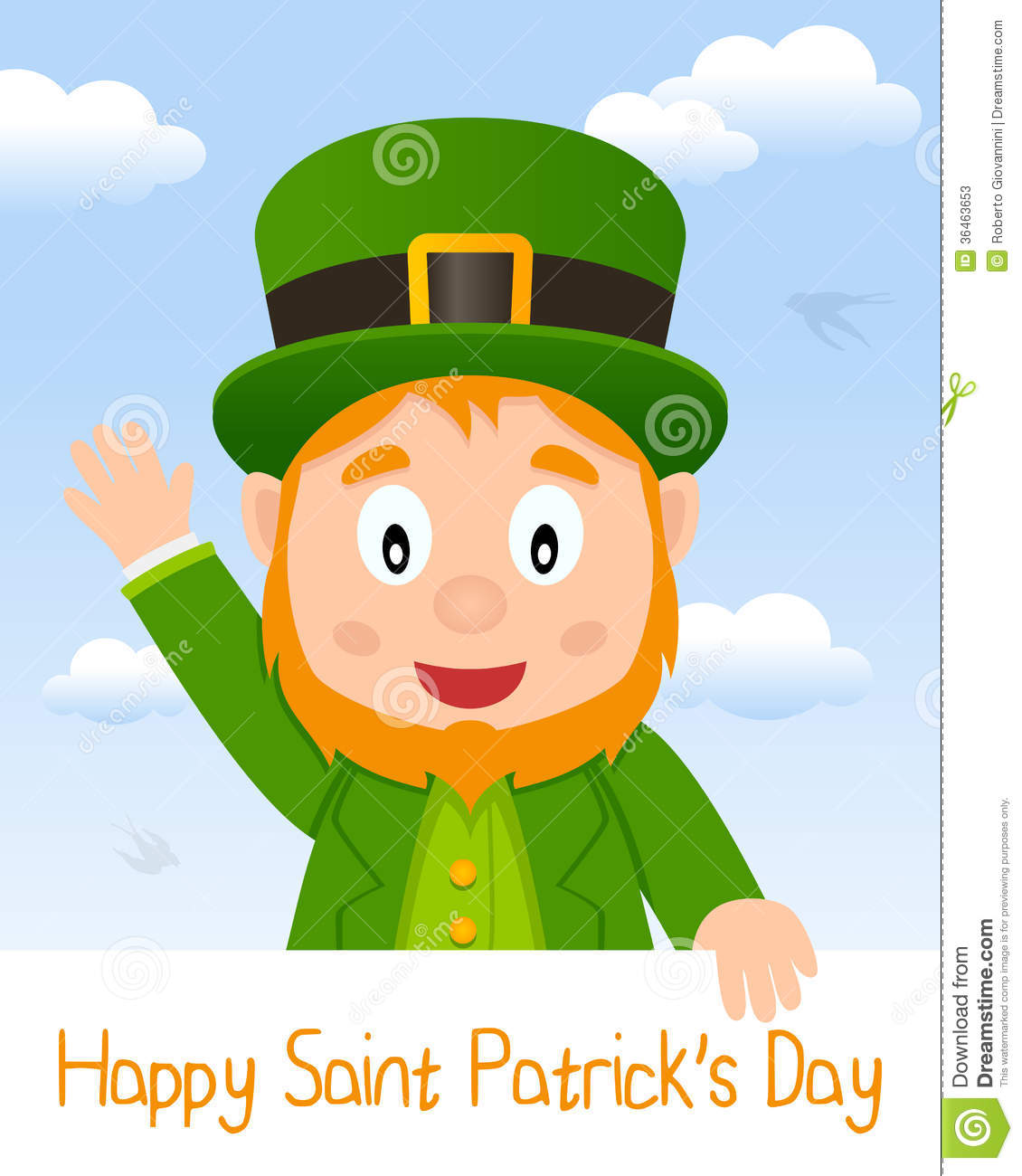 Happy St  Patricks Or Saint Patrick S Day Greeting Card With A Cartoon