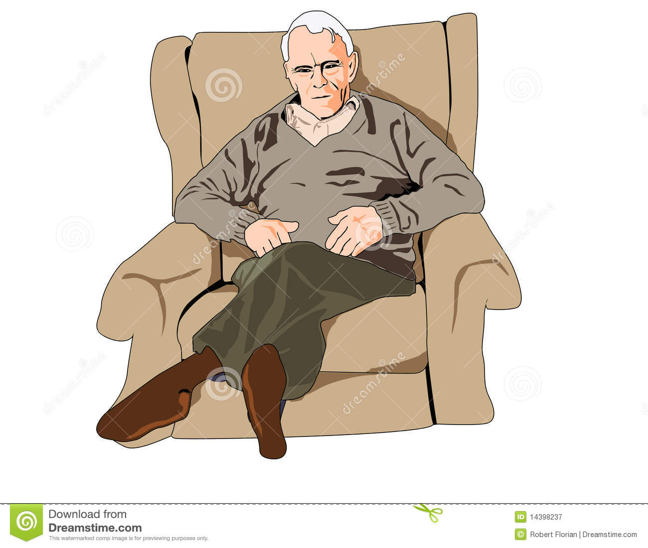 Vector Illustration Of Elderly Gentleman Sitting In An Armchair