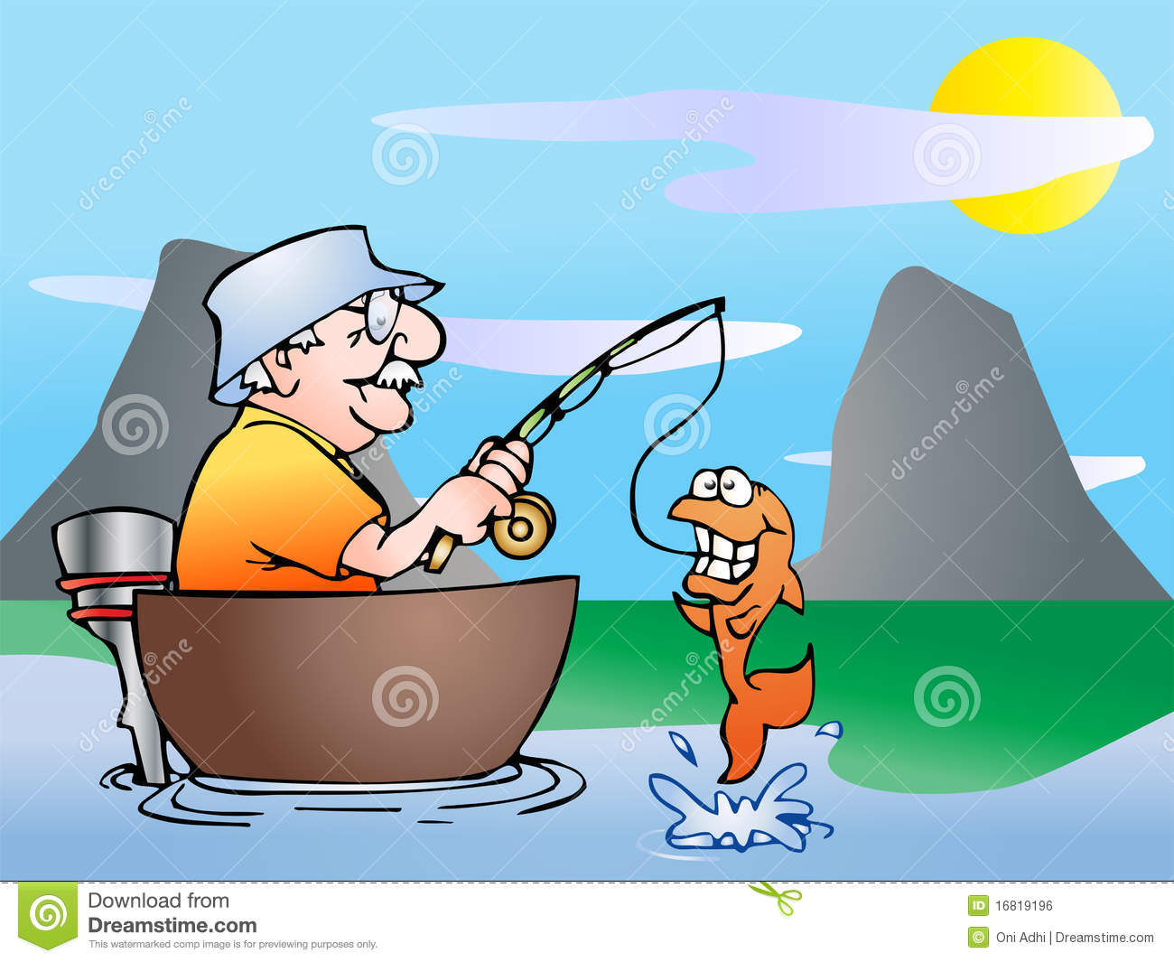 An Old Man Fishing On Boat In Nature Background Illustration