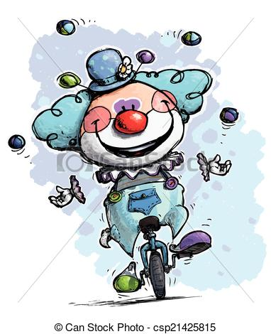 Artistic Illustration Of A Clown On Unicycle Juggling   Boy Colors
