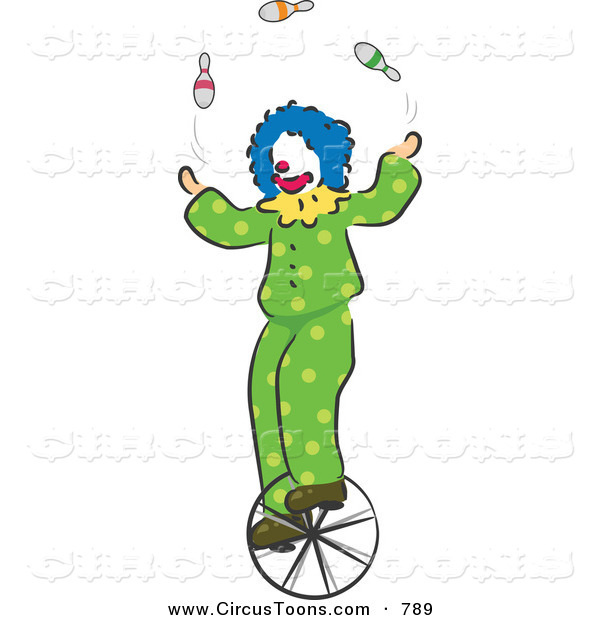 Circus Clipart Of A Clown Juggling On A Unicycle By Bnp Design Studio