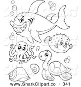 Clip Art Of A Coloring Page Of Outlined Mean Shark Octopus Puffer Fish