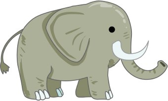 Clip Art Of A Grey Elephant With Long Tusks And Uplifted Trunk